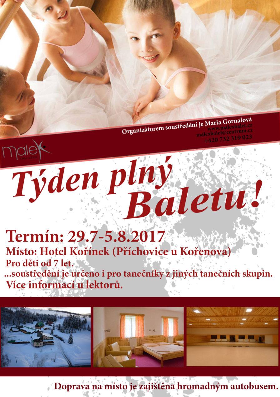 Baletní soustředění 29.7-5.8.2017 v hotelu Kořínek
